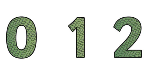 Snake Pattern Display Numbers (Small) - safari, safari numbers, safari display numbers, snake display numbers, snake pattern display numbers