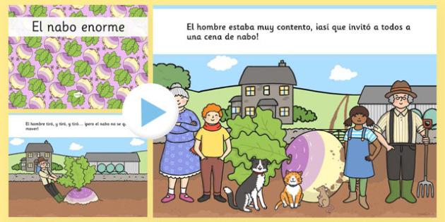 PowerPoint de 'El nabo enorme' - Plantas, creciemiento, alimentación, cuentos, tradicionales