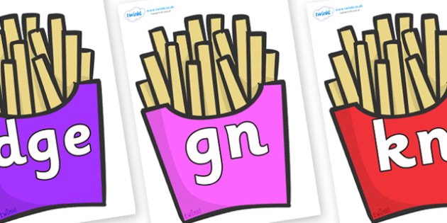 Silent Letters on French Fries - Silent Letters, silent letter, letter blend, consonant, consonants, digraph, trigraph, A-Z letters, literacy, alphabet, letters, alternative sounds