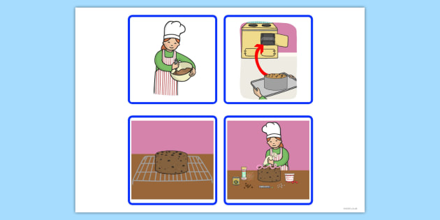 Sequencing Cards Making a Cake - sequencing, cards, make, cake