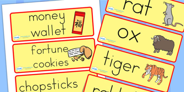 Chinese New Year Topic Word Cards - chinese new year, word cards