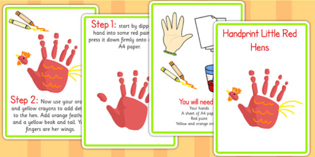 Handprint Little Red Hens Activity - little red hen, story books