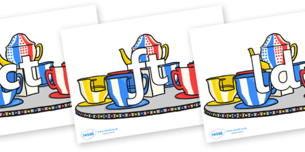 Final Letter Blends on Fairground Teacups - Final Letters, final letter, letter blend, letter blends, consonant, consonants, digraph, trigraph, literacy, alphabet, letters, foundation stage literacy