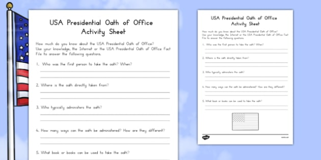 USA Presidential Oath of Office Activity Sheet, worksheet