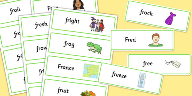 FR Word Cards - fr, word cards, word, cards, sen, sound, fr sound, speech, language