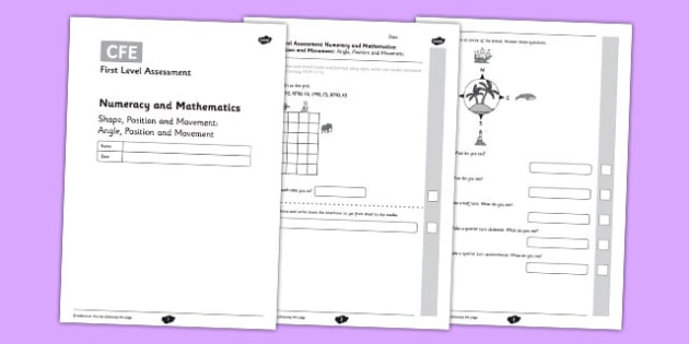 First Level Assessment - Shape: Angle, Position and Movement - CfE, assessment, shape, angles, right angles, grid reference, compass directions