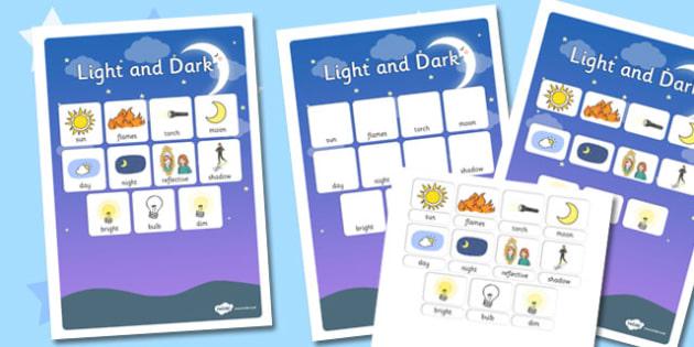 Light and Dark Vocabulary Poster - light, dark, vocabulary
