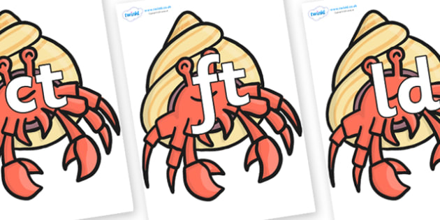 Final Letter Blends on Hermit Crabs - Final Letters, final letter, letter blend, letter blends, consonant, consonants, digraph, trigraph, literacy, alphabet, letters, foundation stage literacy