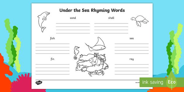 Under the Sea Rhyming Words Worksheet - story books, rhymes