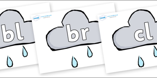 Initial Letter Blends on Weather Symbols (Rain) - Initial Letters, initial letter, letter blend, letter blends, consonant, consonants, digraph, trigraph, literacy, alphabet, letters, foundation stage literacy