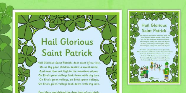 Hail Glorious Saint Patrick Song Lyrics - st patrick , Ireland, song, traditional irish music, religion