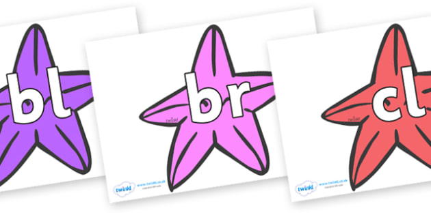 Initial Letter Blends on Starfish (Multicolour) to Support Teaching on The Rainbow Fish - Initial Letters, initial letter, letter blend, letter blends, consonant, consonants, digraph, trigraph, literacy, alphabet, letters, foundation stage literacy