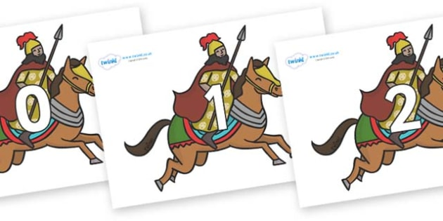 Numbers 0-50 on Egyptian Warriors - 0-50, foundation stage numeracy, Number recognition, Number flashcards, counting, number frieze, Display numbers, number posters