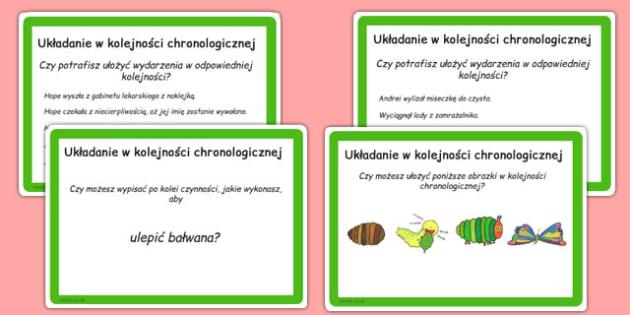 Karty do czytania ze zrozumieniem Chronologia po polsku - lektury