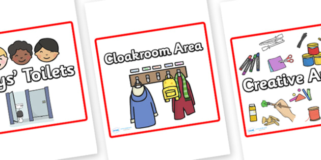 Editable Square Classroom Area Signs (Red) - Classroom Area Signs, KS1, Banner, Foundation Stage Area Signs, Classroom labels, Area labels, Area Signs, Classroom Areas, Poster, Display, Areas