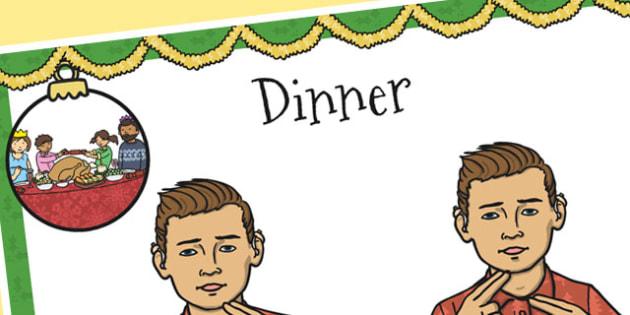 A4 British Sign Language Sign for Dinner Left Handed - dinner