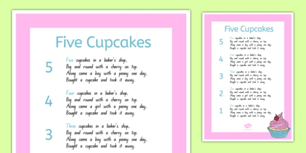 Five Cupcakes Nursery Rhyme Poster - nz, new zealand, five cupcakes, nursery rhyme, poster, display