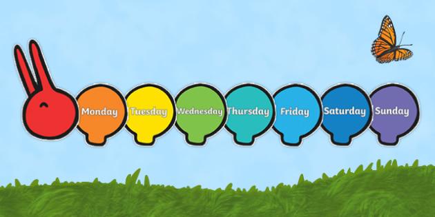 Days of the Week on Giant Rainbow Caterpillar - days of the week, giant, rainbow, caterpillar