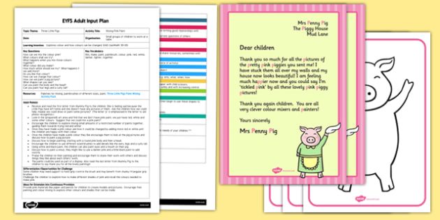 Three Little Pigs Paint Mixing EYFS Adult Input Plan and Resource