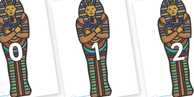 Numbers 0-31 on Sarcophagus - 0-31, foundation stage numeracy, Number recognition, Number flashcards, counting, number frieze, Display numbers, number posters