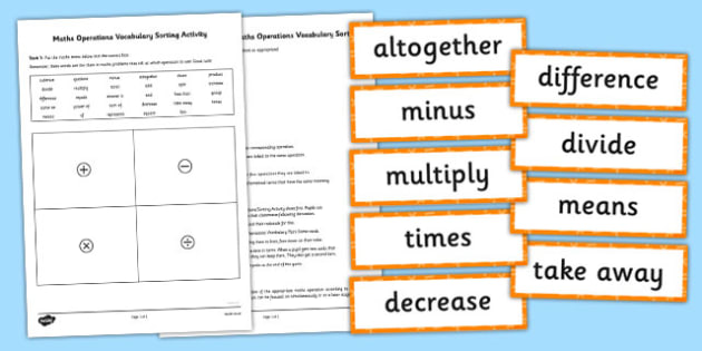 Maths Operations Vocabulary Sorting Activity and Pairs Game - matching, comparing, calcualtions, activities, cards, sort, order, fun, short, revision, visual aid, kinaesthetic, irish, ireland, ks2, key stage, upper,