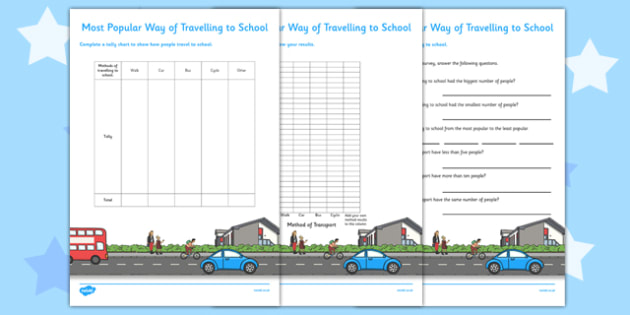 Travelling to School Tally Chart and Graph With Questions -  data, handling, statistics, ks1, year 2, new curriculum, maths