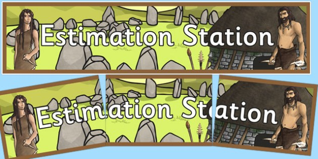 Stone Age Themed Estimation Station Banner - stone age, estimation, station, banner