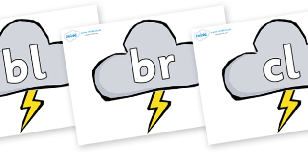 Initial Letter Blends on Weather Symbols (Stormy) - Initial Letters, initial letter, letter blend, letter blends, consonant, consonants, digraph, trigraph, literacy, alphabet, letters, foundation stage literacy