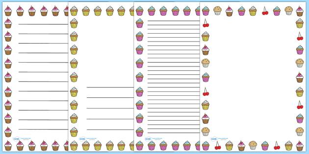 Cupcake Page Border - page border, writing borders, A4, border, cupcake, cake, baking, food, independent writing