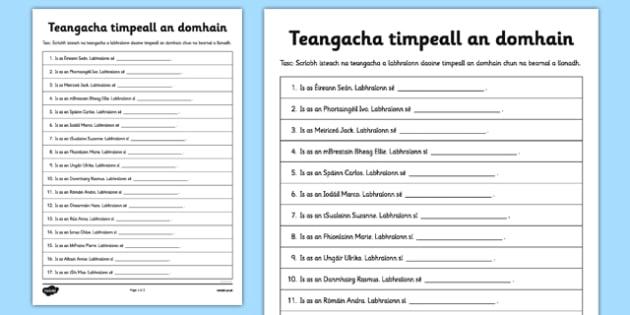 Teangacha timpeall an domhain - Irish, gaeilge, languages, close, reading, writing, worksheet
