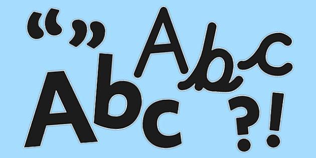 Display Lettering & Symbols (Black) - Display lettering, display letters, alphabet display, letters to cut out, letters for displays, coloured letters, coloured display, coloured alphabet