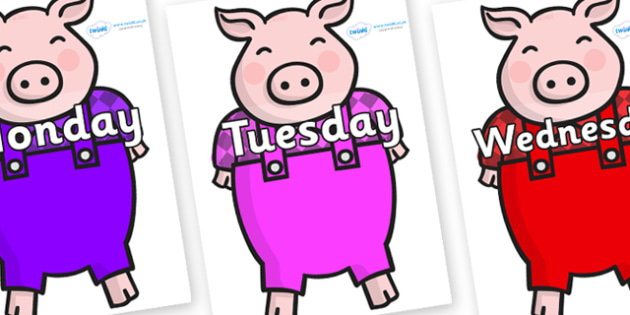 Days of the Week on Pigs - Days of the Week, Weeks poster, week, display, poster, frieze, Days, Day, Monday, Tuesday, Wednesday, Thursday, Friday, Saturday, Sunday