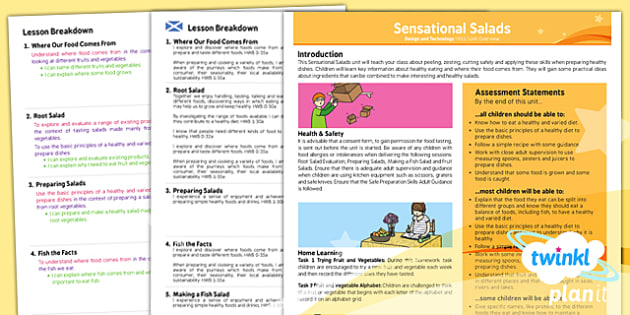 PlanIt - Design and Technology KS1 - Sensational Salads Planning Overview CfE - planit, planning, overview, cfe