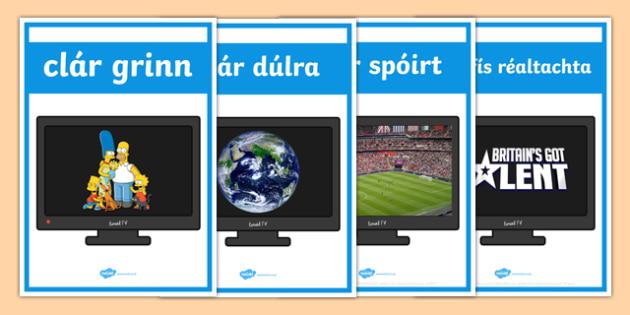Television Programmes Display Posters Gaeilge - Gaeilge, Irish, television, T.V., programmes, posters, photos