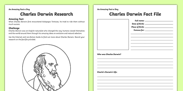 Charles Darwin Research Activity Sheet - amazing fact a day, activity sheet, activity, activities,, worksheet