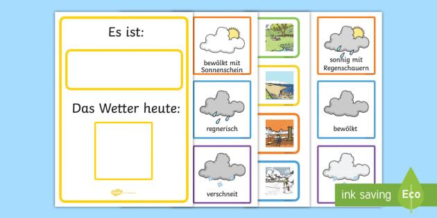 Weather and Seasons Day Calendar German - german, season, weather, calendar, spring, summer, autumn, winter, rainy, sunny, cloudy, calendar, wetter