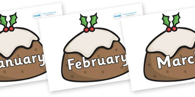 Months of the Year on Christmas Puddings - Months of the Year, Months poster, Months display, display, poster, frieze, Months, month, January, February, March, April, May, June, July, August, September