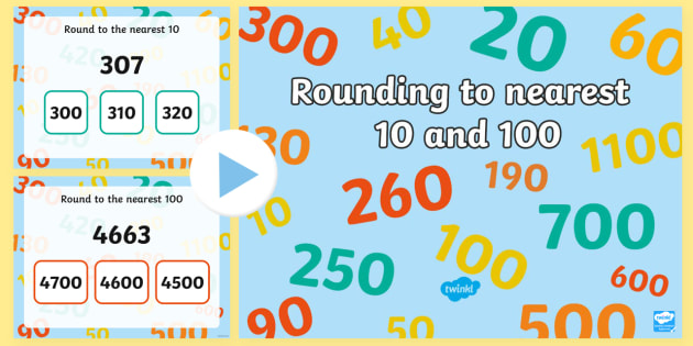 Rounding to 10 and 100 with real world contexts PowerPoint - CfE Numeracy and Mathematics, number, rounding to 10, rounding to 100, rounding, context, 2nd level