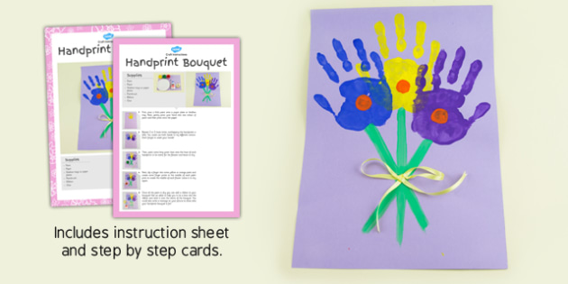 Handprint Bouquet Craft Instructions - EYFS, KS1, craft, flowers, spring, Mother's Day