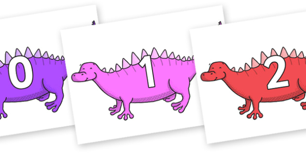 Numbers 0-31 on Scelidosaurus - 0-31, foundation stage numeracy, Number recognition, Number flashcards, counting, number frieze, Display numbers, number posters