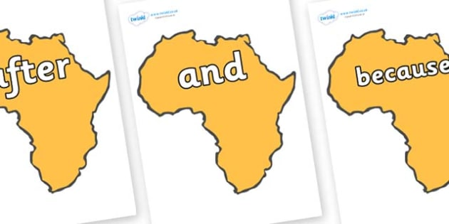 Connectives on Africa - Connectives, VCOP, connective resources, connectives display words, connective displays