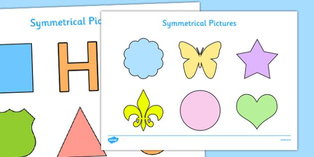 Symmetrical Pictures Pack - EYFS, KS1, symmetry, maths, shape, space, measure, butterfly