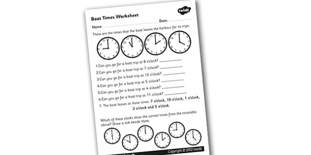 Boat Times Worksheet - time worksheet, clock times worksheet, timetables worksheet, boat times, clock work, time work, numeracy, boat timetables worksheet