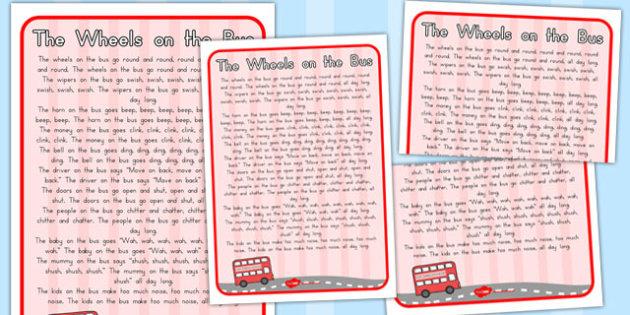The Wheels on the Bus Nursery Rhyme Poster - australia, nursery