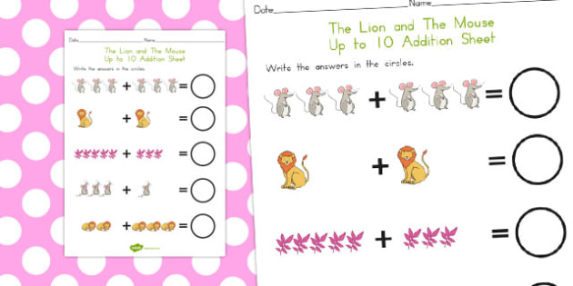 The Lion and the Mouse Up to 10 Addition Sheet - australia, add
