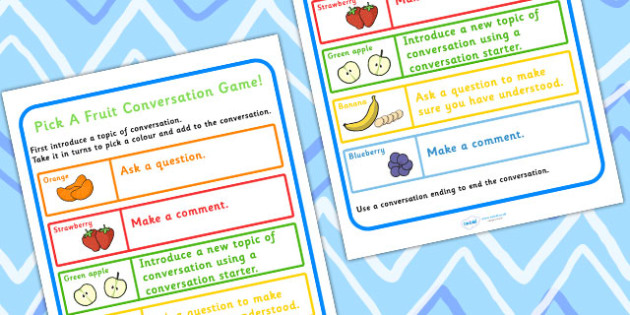 Conversation Practise Pick A Fruit Colour Game - games, SEN games