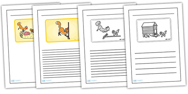 Black and White Lined Writing Frames to Support Teaching on Rosie's Walk - rosies walk, rosies walk writing frames, rosies walk colour and write, rosies walk descriptive writing