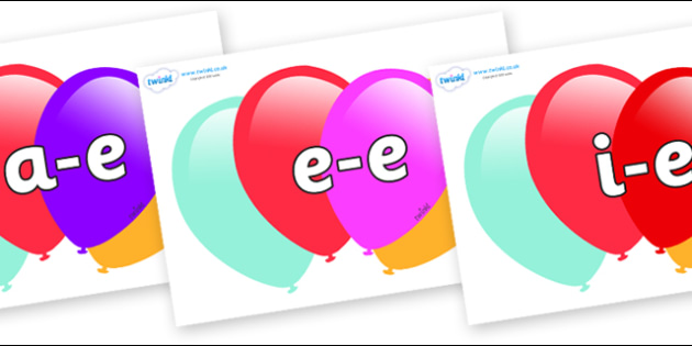 Modifying E Letters on Balloons - Modifying E, letters, modify, Phase 5, Phase five, alternative spellings for phonemes, DfES letters and Sounds