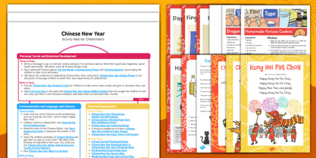 Childminder Chinese New Year Activity Web and Resource Pack - Chinese New Year, red envelopes, dancing dragons, dancing lions, firecrackers, noodles, rice, red envelopes, Chinese lanterns
