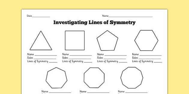 Drawing Lines Of Symmetry Worksheets : Investigating lines of symmetry worksheet